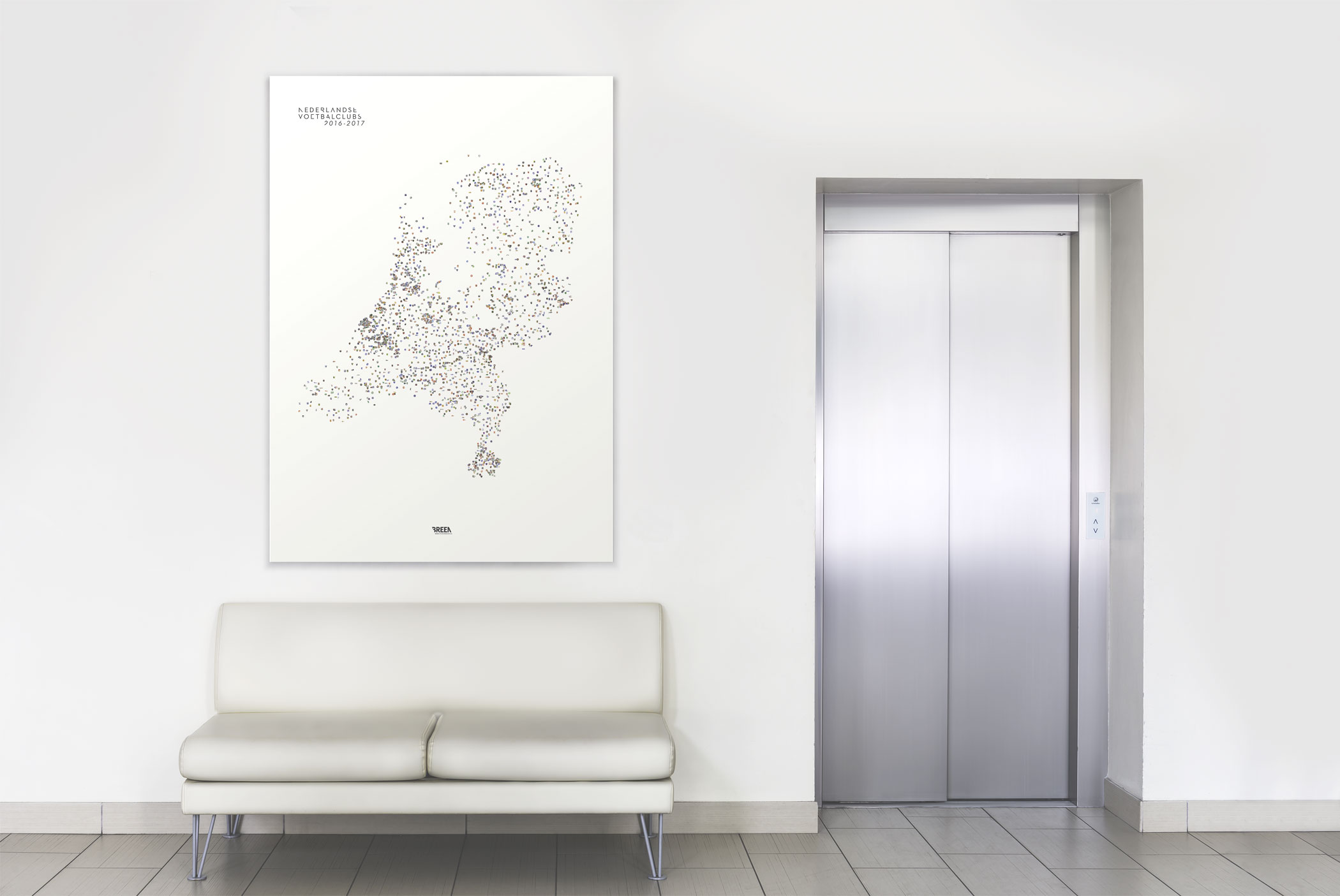 poster mockup Dutch football clubs next to elevator above a couch