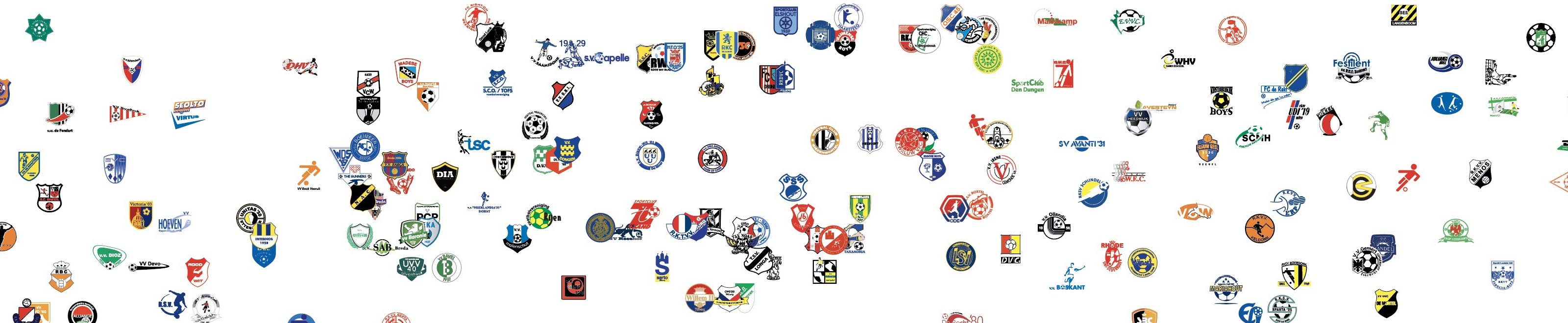 cropped poster Dutch football clubs from Brabant with teams like NAC, Willem II en RKC