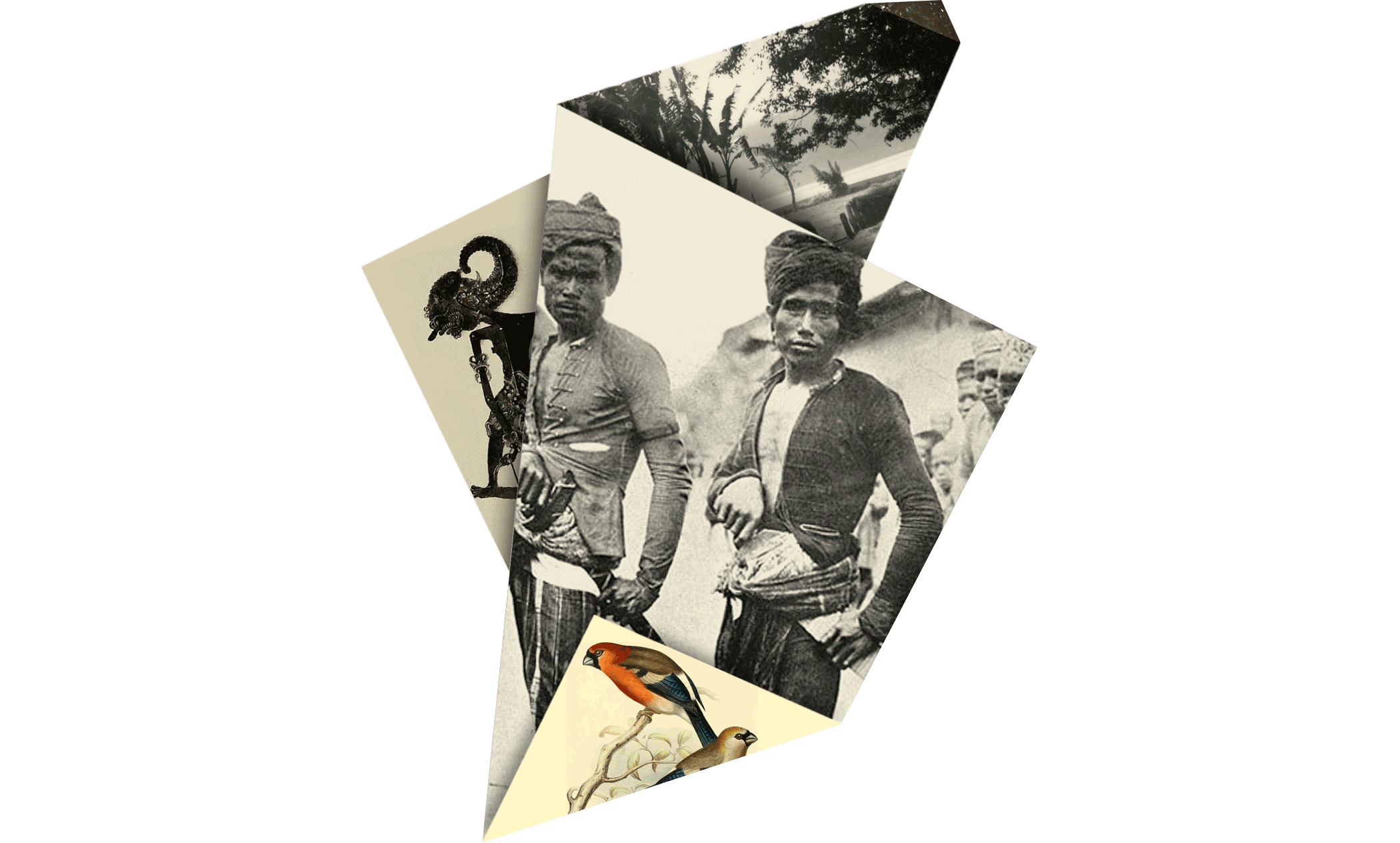 image of folded element Nederlandse studiegroep De Kris with two Sulu warriors, wayang doll, Borneo
