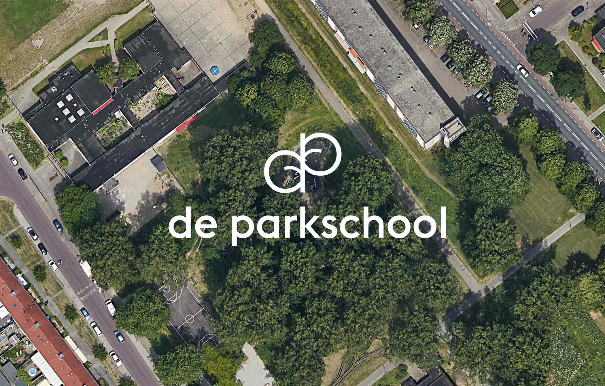 aerial image of De Parkschool with logo